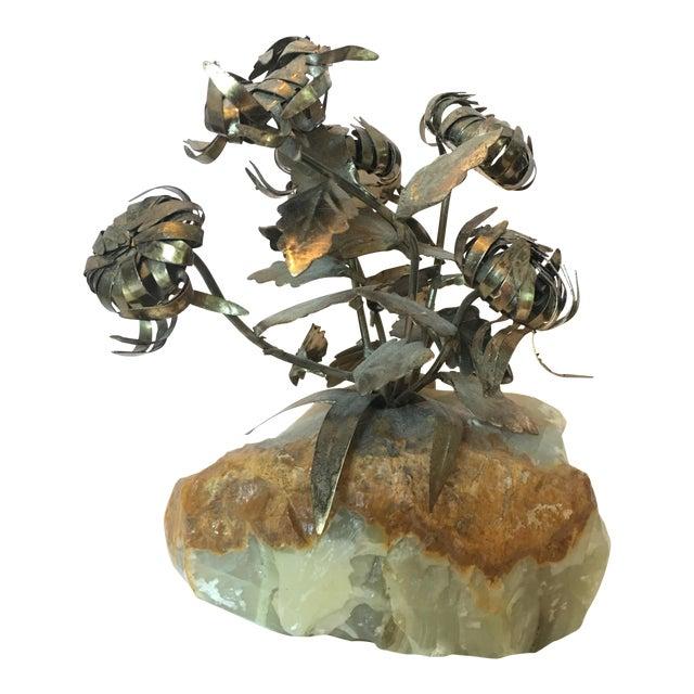 Brass & Quartz Flower Model For Sale