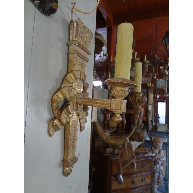 Pair of French Gilt Wood Sconces For Sale In New Orleans - Image 6 of 8