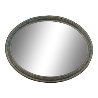 Vintage Oval Brass Mirror For Sale