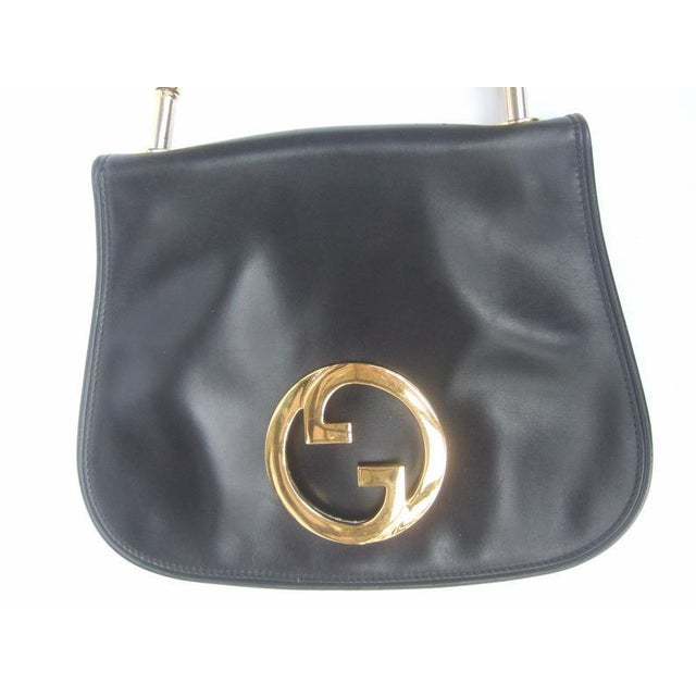 1970s 1970s Gucci Italy Ebony Leather Blondie Shoulder Bag For Sale - Image 5 of 11