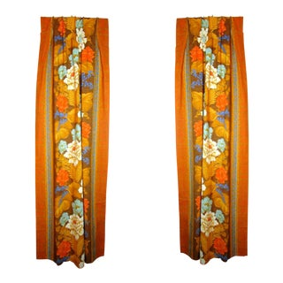 Vintage Boho Tropical Print Cotton Drapes - a Pair For Sale