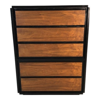1960s Walnut & Black Painted Tall Dresser by Lane Furniture For Sale