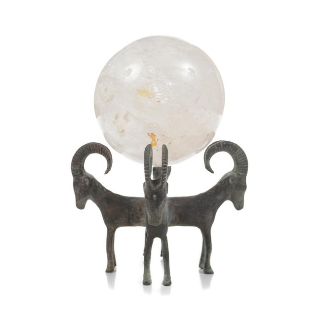Rock Crystal Globes on Bronze Stands - A Pair For Sale In Los Angeles - Image 6 of 9