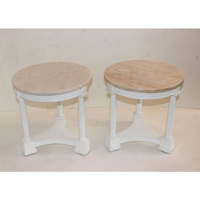 Hollywood Regency Side Tables in White Lacquer With Pink Marble: Tops 1940s - a Pair For Sale - Image 11 of 12