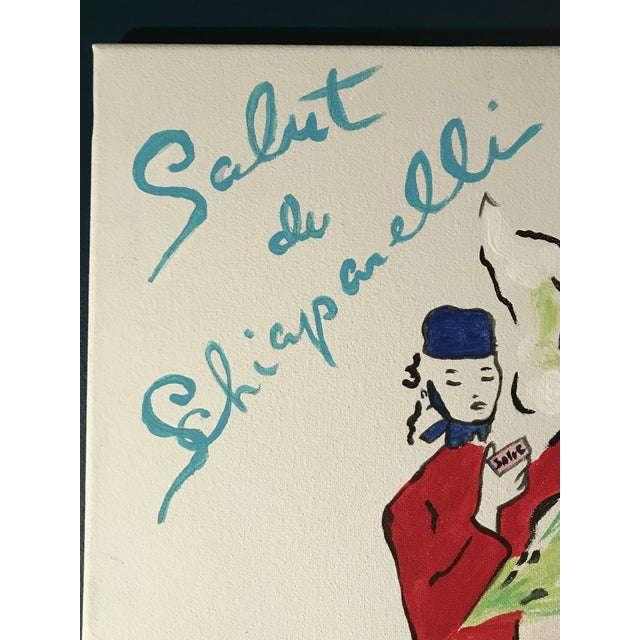 Acrylic hand painted painting on canvas depicting Elsa Schiaparelli Salut de fragrance advertising from a 1940s magazine....