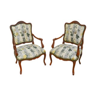 French Louis XV Style Custom Carved Oak Frame Fauteuils Arm Chairs - A Pair