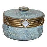 Image of Hollywood Regency Jaru Green and Gold Cast Stone Ceramic Box For Sale