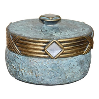 Hollywood Regency Jaru Green and Gold Cast Stone Ceramic Box For Sale