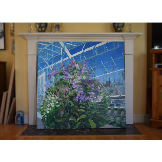"""Contemporary """"Meet Me at the Greenhouse"""". Large (48"""" X 48"""") Contemporary Painting by Stephen Remick For Sale - Image 3 of 13"""
