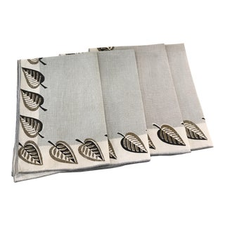 Leaf Design Vintage Linen Napkins - Set of 4 For Sale