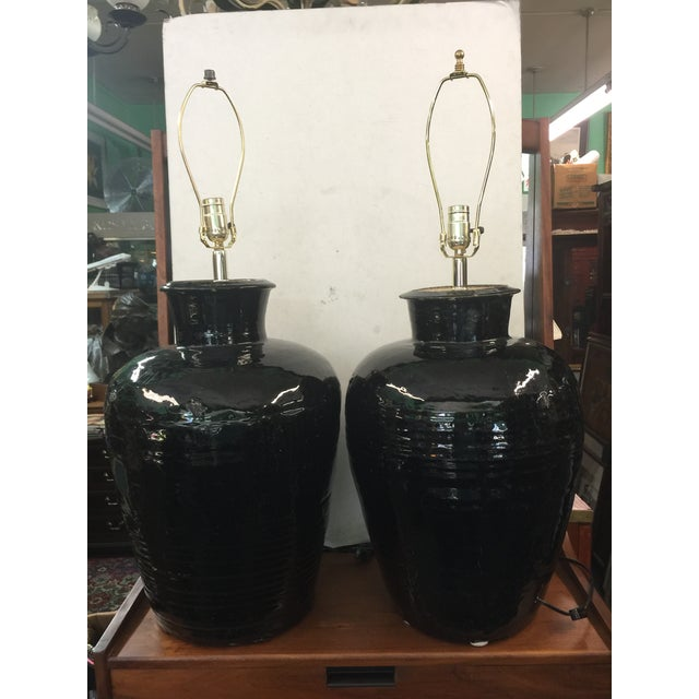 Antique Storage Jar Lamps a Pair For Sale - Image 10 of 10