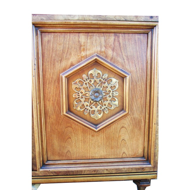 Wood Ornate Burled Wood Hollywood Regency Dresser Cabinet By Peppler For Sale - Image 7 of 9