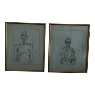 Vintage Line Charcoal on Paper Drawings - a Pair