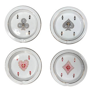 "1970s Vintage Gucci ""Poker"" Round Ashtrays - Set of 4 For Sale"