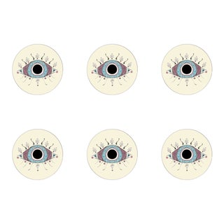 Shelly Evil Eye Coasters Set of 6 For Sale