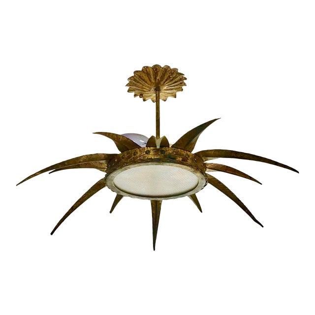 1950s French Sunburst Ceiling Mount Fixture For Sale