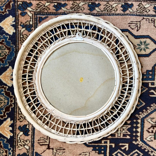 White Vintage White Wicker Round Wall Mirror For Sale - Image 8 of 11