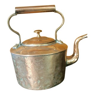 Antique Hammered Copper Kettle For Sale