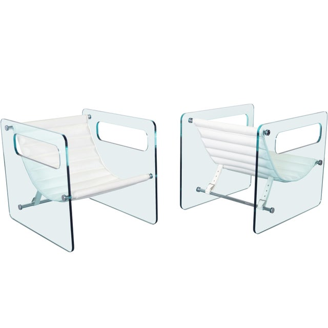 """Italian """"Naked Glass Lounge Chairs by Giovanni Tommaso For Sale - Image 9 of 10"""