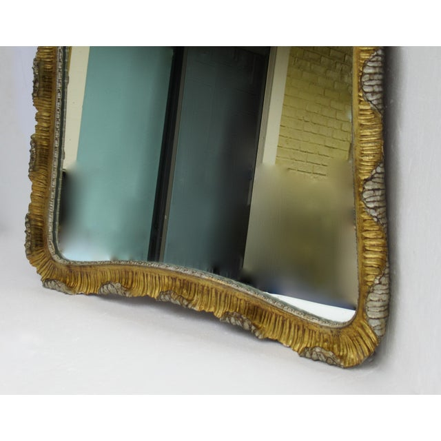 Wood Vintage C.1963 Hollywood Regency, Italian Venetian Carved Gilt Gold & Silver Scalloped Mirror For Sale - Image 7 of 13