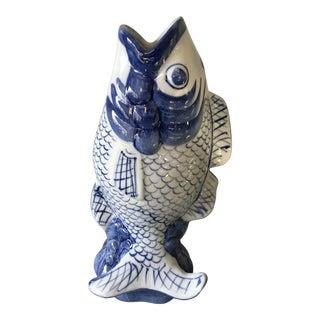 Blue & White Porcelain Koi Vase