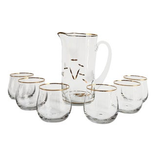 Mid-Century 24k Gold Pitcher & Glassware Set - Set of 7