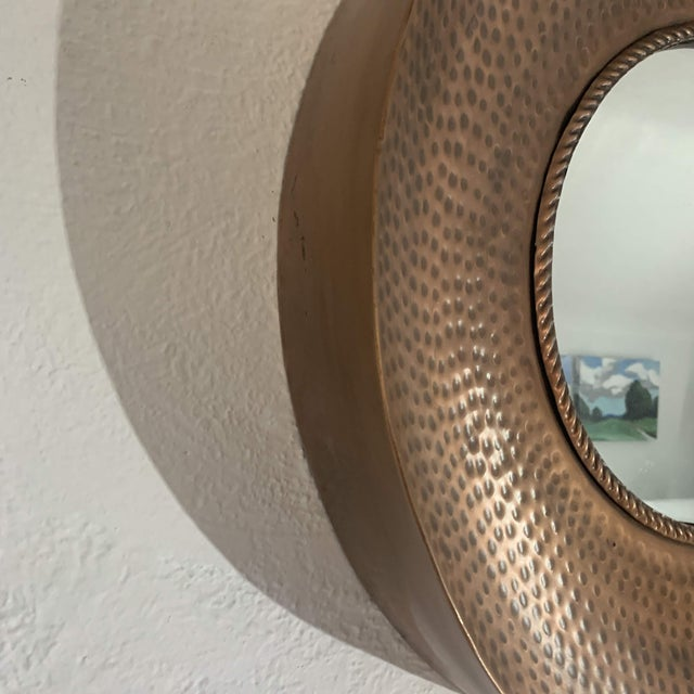 Contemporary Hammered Copper Wall Mirror For Sale - Image 3 of 11
