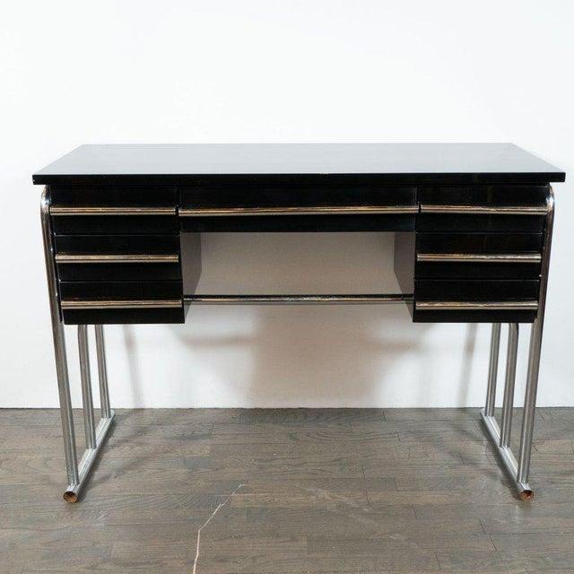 Art Deco Art Deco Machine Age Chrome & Black Lacquer Writing Desk / Vanity For Sale - Image 3 of 11