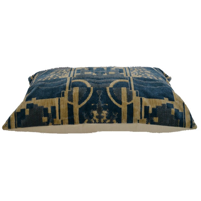 Cotton Luigi Bevilacqua of Milan Blue Art Deco Velvet Lumbar Pillows - a Pair For Sale - Image 7 of 12