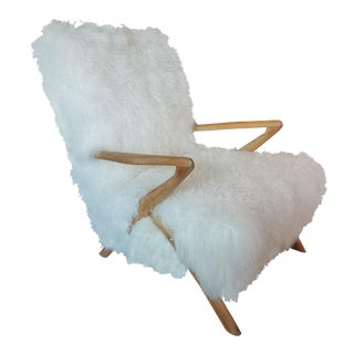 Fabulous Vintage French Ashwood Armchair Covered in Sheepskin, Circa 1960