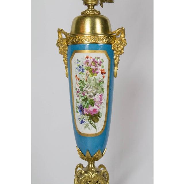 Manufacture de Sevres Large Urn Form French Gilt Bronze and Turquoise Porcelain Candelabra For Sale - Image 4 of 10