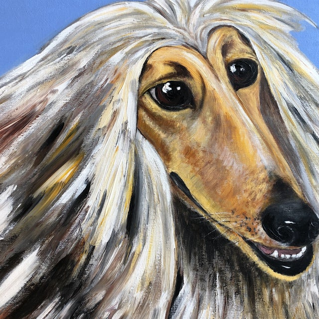 Contemporary Large Contemporary Original Afghan Hound Dog Portrait Painting Signed For Sale - Image 3 of 5