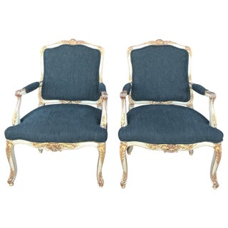 1920s Louis XV Bergere Chairs - a Pair For Sale