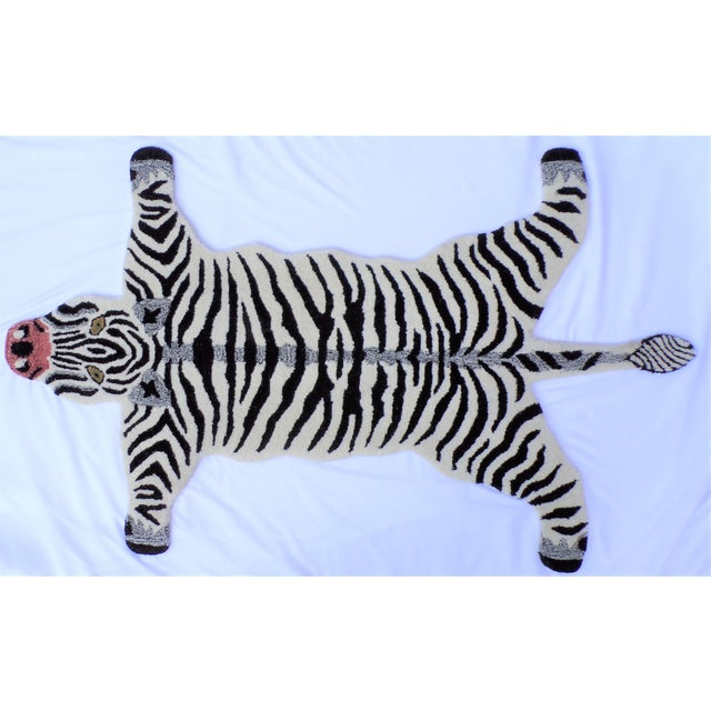 White 1990s Vintage Zebra Style Persian Rug - 3x5 Feet For Sale - Image 8 of 8