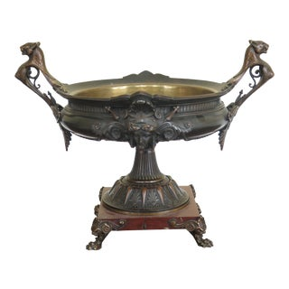19th Century Victorian Bronze Lion Head Center Bowl For Sale
