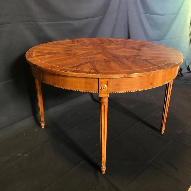 Brown Antique French Inlaid Round Marquetry Table For Sale - Image 8 of 8