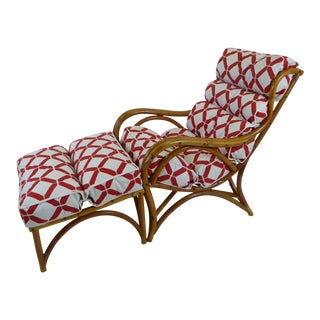Pair of 1940s Tropical Modern Rattan Lounge Chair and Ottoman