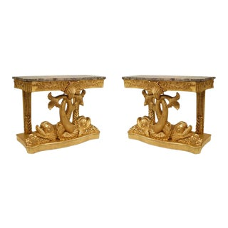 English Regency Gilt Console Dolphin Tables For Sale