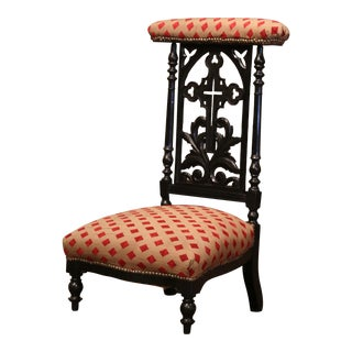 19th Century French Louis Philippe Carved Blackened Prayer Bench With Fabric For Sale