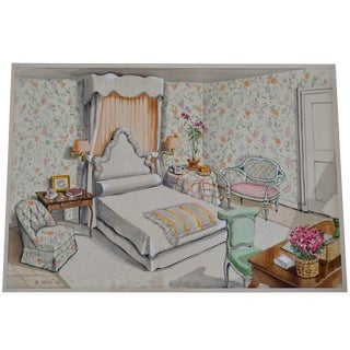 Interior Watercolor Illustration by Designer Richard Lowell Neas, 1986 For Sale