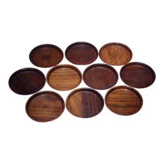 1960s Mid Century Modern Saap of Denmark Carved Rosewood Coasters - Set of 10 For Sale