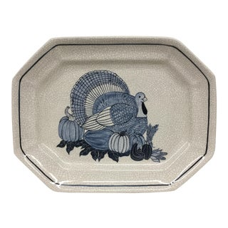 Studio Hand Potted Ceramic Turkey Platter For Sale