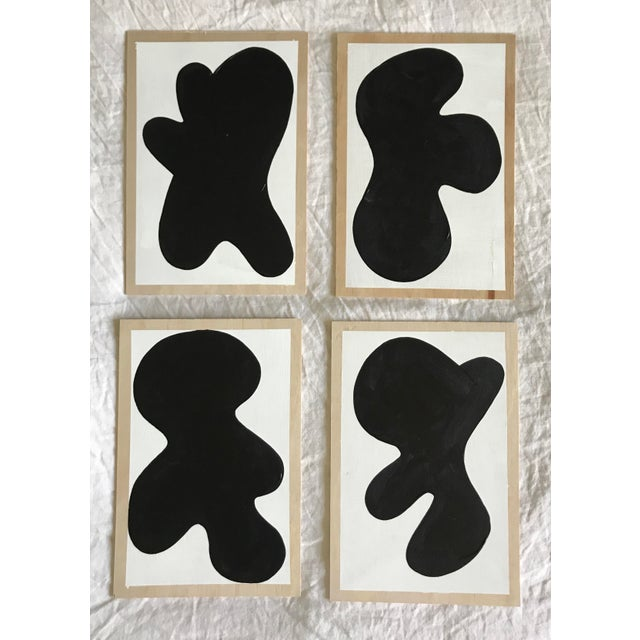 Wood Abstract Monochrome Critters Wall Paintings - Set of 4 For Sale - Image 7 of 8