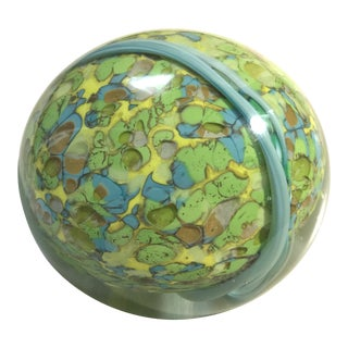 Handmade Green Blown Glass Signed Paperweight For Sale