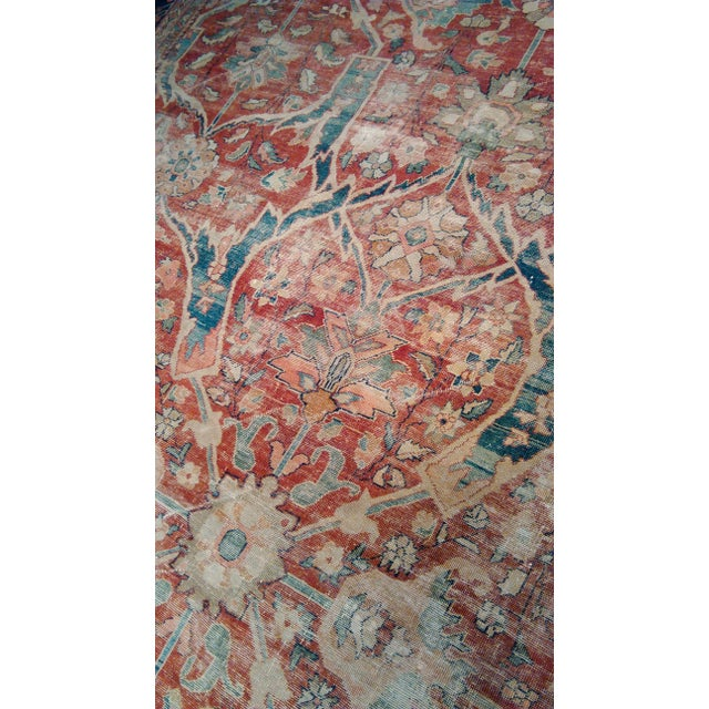 "Distressed Antique Sultan Abad Rug - 11'0"" X 13'6"" For Sale - Image 4 of 4"