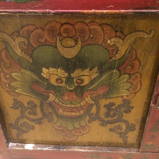 Antique Tibetan Hand-Painted Six Door Cabinet - Image 8 of 9