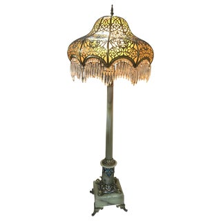 French Champleve and Onyx Bronze Floor Lamp, 19th Century For Sale