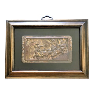 19th Century Antique Framed Chinese Carved Gilt-Wood Warriors on Horseback Panel For Sale