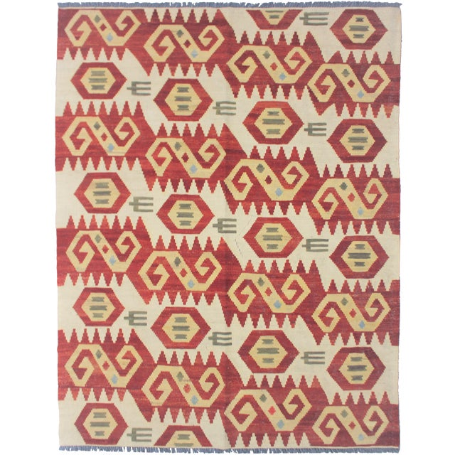 "Aara Rugs Inc. Hand Knotted Maimana Kilim - 6'2"" X 4'5"" For Sale"