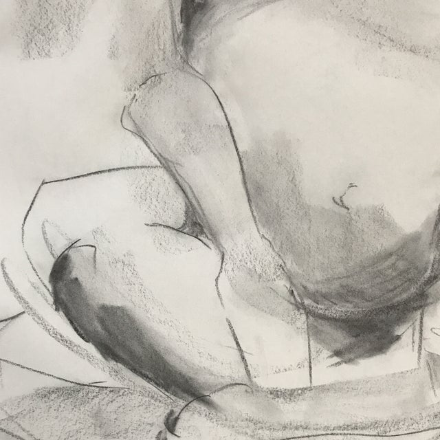 Seated Pregnant Nude Drawing For Sale - Image 4 of 4